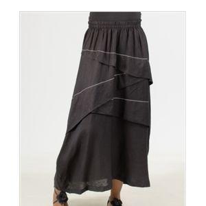 Moonlight Lagenlook Black Linen Tier Maxi Skirt M
